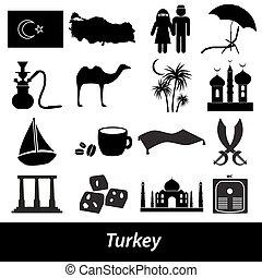 turecko, země, námět, symbol, ikona, dát, eps10