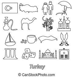 turecko, země, námět, symbol, nárys, ikona, dát, eps10