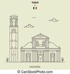 Turin Cathedral, Italy. Landmark icon in linear style