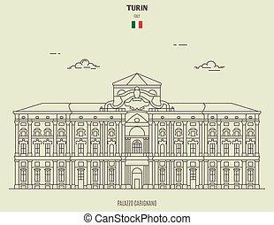 turin, italy., grenzstein, carignano, palazzo, ikone