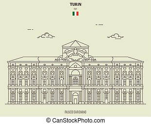 turin, italy., repère, carignano, palazzo, icône