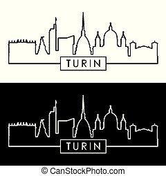 Turin skyline. Linear style.