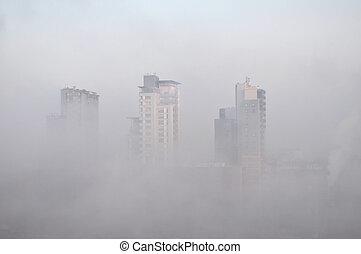 Turin smog - Winter foggy view of city skyline with smog, ...