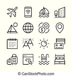 turism, och, semester, fodra, ikonen, set., nymodig, grafik formge, begreppen, enkel, skissera, elementara, collection., vektor, fodra, ikonen
