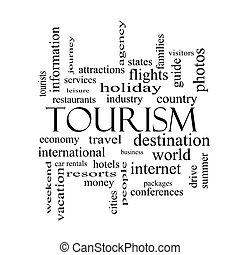 turism, ord, moln, begrepp, in, svartvitt