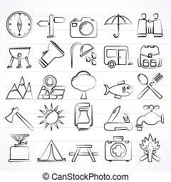 turismo, campeggio, icone