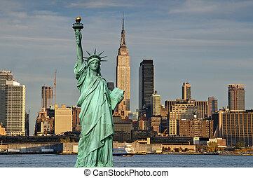 turismo, conceito, cidade nova iorque, com, estátua,...