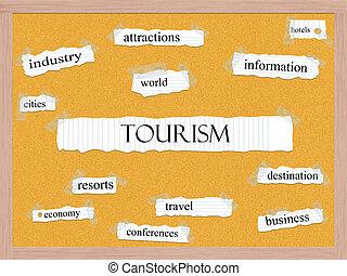 turismo, conceito, corkboard, palavra