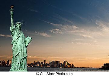 turismo, concepto, ciudad nueva york, con, estatua, libertad