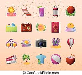 turismo, detallado, viaje, estilo, iconos, relacionado, vacaciones del verano, aventura, recreación