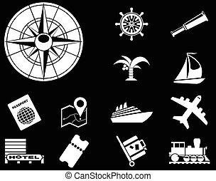 turismo, e, viaje ícones