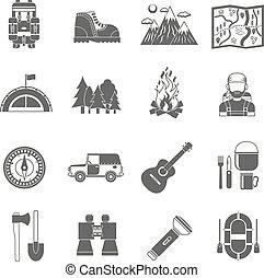 turismo, iconos, negro