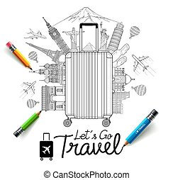 turismo, illustrations., arte, doodles, estilo, viagem, vetorial
