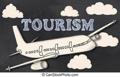 turismo, ligado, quadro-negro
