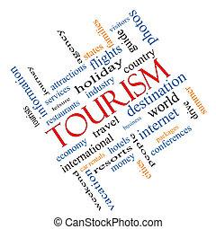 turismo, palabra, nube, concepto, angular