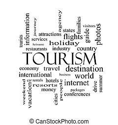 turismo, palavra, nuvem, conceito, em, preto branco