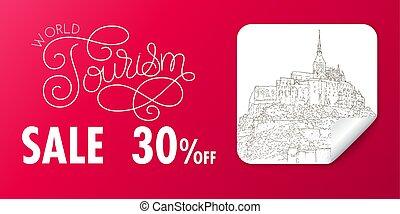 turismo, sketching., arte, banner., silueta, línea,...