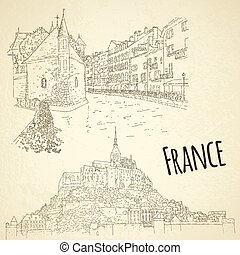 turismo, sketching., arte, illustration., línea, conjunto,...