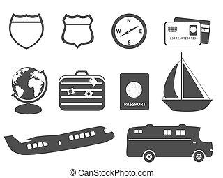 turismo, vacaciones, y, viaje