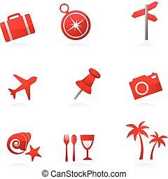 turismo, vermelho, ícones