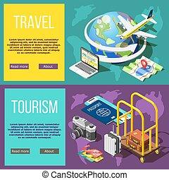 turismo, viaggiare, bandiere, orizzontale