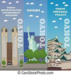 turist, banners., resa, tokyo, illustration, berömd, vektor, gränsmärke, japan, concept., anläggningar.