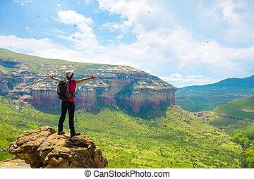 turist, betrakta, fjäll, utsikt.