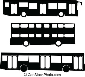 turist, bus, silhuetter