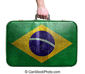turist, hålla lämna, årgång, läder, resa väska, med, flagga,...