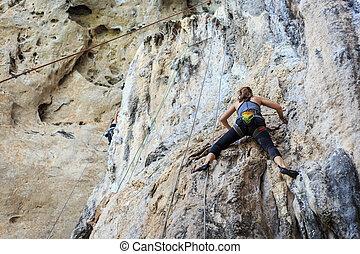 turist, klättrande, på, fjäll