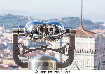 turist, mynt, binokulär, visa, med, vacker, panorama, synhåll, av, florens, italien