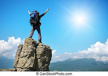 turist, på, bergstopp