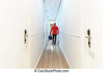 turista, albergo, lungo, sfocato, arrivare, lungo, corridoio, esposizione