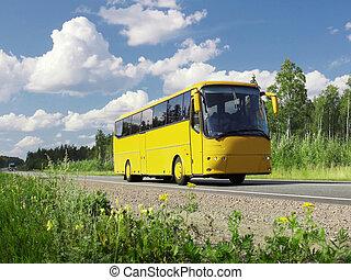 turista, autobús, amarillo, paisaje, carretera rural
