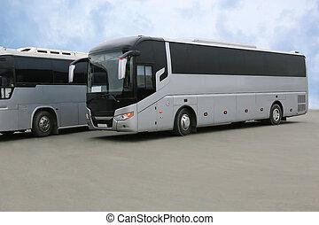 turista, autobuses, en, estacionamiento
