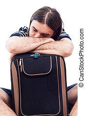 turista, bagagem, cansadas, dormir, viajante, homem