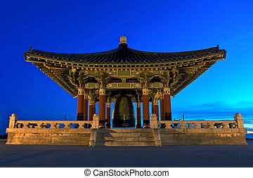 turista, campana, california, monumento, pedro, coreano, amistad, san