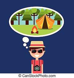 turista, campeggio, pensare, vacanze, foresta, tenda, felice