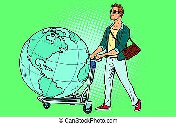 turista, carrinho bagagem, terra planeta, homem