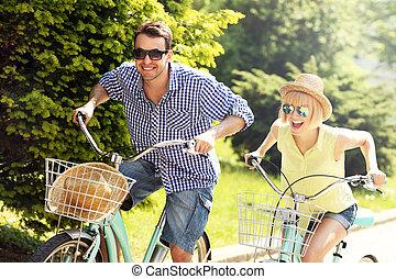 turista, ciclismo, cidade