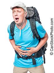 turista, com, diarreia, experimentando, dor abdominal, em, um, caminhada, contra, um, fundo branco