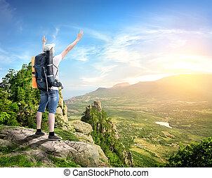 turista, con, en, montañas