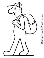 turista, con, mochila
