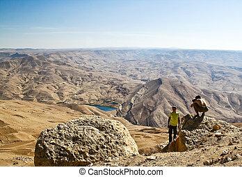 turista, en, montaña, de, jordania