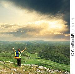 turista, en, montaña