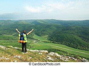 turista, en, mountain.
