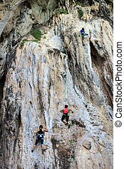 turista, escalando, ligado, montanha