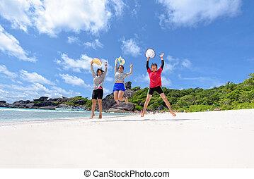 turista, famiglia, generazione, tre, spiaggia, donne