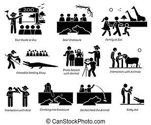 turista, figura, família, pictograma, pessoas, icons., jardim zoológico, vara