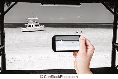 turista, foto, presa, yacht, oceano, atlantico